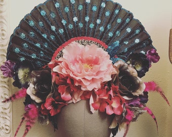 Spring Goddess - Floral fan and feather headdress headpiece pastel pink blue fairy goth photoshoot fascinator crown