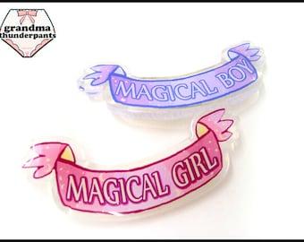 Magical Girl/Boy Pin, Mahou Shoujo, Magical, Sparkle Pin, GLITTER