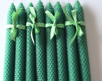 Kelly Green Beeswax Candles - Green Beeswax Candles - Beeswax Candles - Unscented Candles - Candles - Honeycomb Beeswax Candles