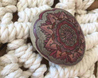 Spirit Stone Mandala Painted Stone Natural Rock Paperweight d