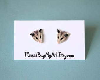 Possum Stud Earrings Cute Funny Possum Lover Gift Idea