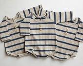 Newborn boy long sleeve romper (Theo) - photography prop - khaki, tan, navy, stripes, onesie, outfit