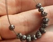 60% HOLIDAY SALE 1mm Hole Black Rough Diamond Beads, 1mm Large Hole Drilled Black Diamond, Loose Diamond, Conflict Free, 4-5mm, 6 Pcs - DS24