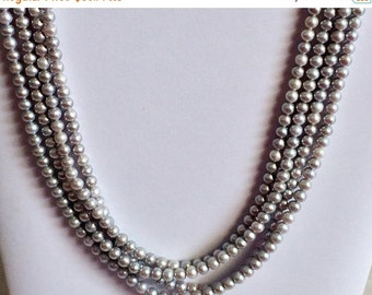60% HOLIDAY SALE Pearls - Grey Pearls, Natural Fresh Water Round Pearls, Natural Pearls, Pearl Necklace, 6mm, 16 Inch Strand, 53 Pieces, Who