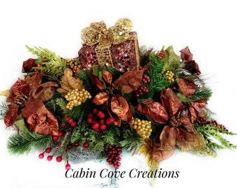 Christmas Centerpiece Holiday Silk Floral Arrangement Prelit Decorative Gift Box Copper Poinsettias CUSTOM Designs by Cabin Cove Creations