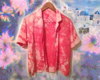 90s Boho Pink Silk Tie Dye Beautiful Unisex Short Sleeve Summer Shirt size Medium