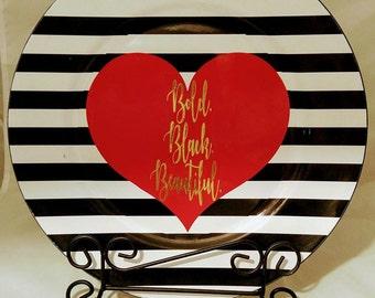 Bold. Black. Beautiful. Decorative Plate w/ Stand