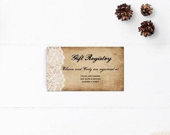 Wedding registry card / Gift registry cards / Wedding gift registy cards / Enclosure cards - RC0001