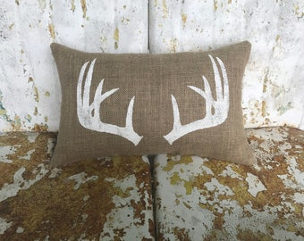 Deer ANTLERS Lumbar Burlap Pillow ANTLERS Deer Throw Accent Pillow Custom Colors Available Home Decor Rustic Home