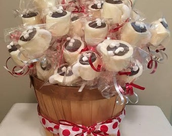 1 dozen Chocolate Covered Marshmallows, Hot Chocolate, Marshmallow Pops, Chocolate,party favor,favor