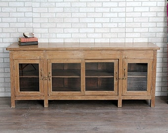 Long and Low Sideboard Teak Wood TV Stand Boho Buffet