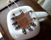 Long Wire Hoop Rectangular Antique Copper Earrings, Chandelier, Dangles, Boho Chic, Rustic, Tribal, Bohemian, Statement