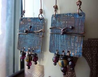 Blue Patina Rectangular Artisan Earrings, Chandelier, Dangle, Rustic, Boho Chic, Bohemian, Tribal, Long Earrings