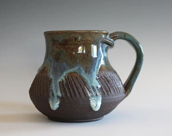 Coffee Mug, 14 oz, handthrown ceramic mug, stoneware pottery mug, unique coffee mug, stoneware mug, coffee mug pottery, pottery mug