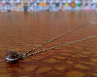 Made to Order Sterling Silver Cable Clay French Macaron Necklace- Chocolate Brown