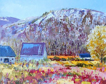 Oil painting on canvas, mountain landscape, spring painting, country scenery, art, impressionism art, home wall decor, Canadian oil painting