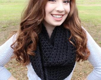 Chunky Crocheted Black Infinity Scarf