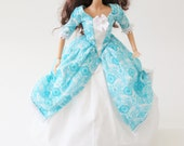 Historic Colonial Barbie dress: Ornate Teal Floral