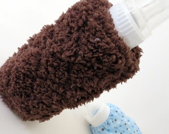 Brown Soft n Fluffy bottle cover