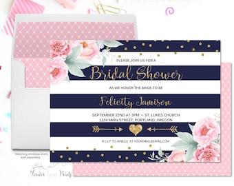 NAVY Bridal Shower Invitation, Flowers Bridal Invitation, Engagement Invitation, Printable Engagement Invite, Modern Striped, Pink and Navy
