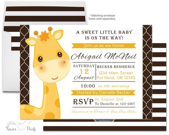 Giraffe Baby Shower Invitation - Giraffe Baby Shower Invite - Baby Boy Invitation - Gender Neutral - Giraffe Invitation - Safari Baby Shower