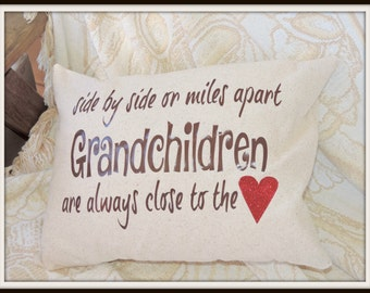 side by side or miles apart grandparents pillow, miles apart grandchildren pillow, grandchildren close to the heart