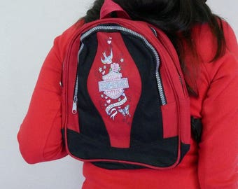 vtg 90s Mini Harley backpack born to ride love the tribal tattoo design