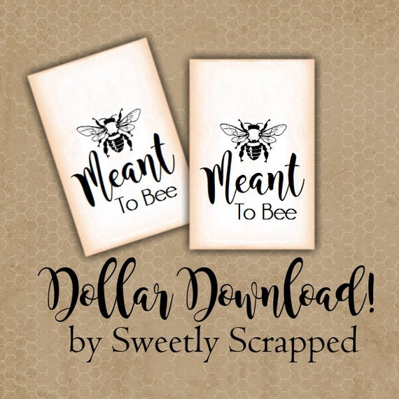 Meant To Bee Tags, Dollar Download, Be, Wedding, Honey, Vintage Look, Gift Tags, Labels