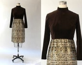 SALE // 1960s Eleanor Brenner Velvet and Metallic Brocade Cocktail Dress // 60s Vintage Short Formal Long Sleeve Dress // Medium - Large