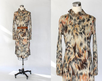 1960s Silk Jersey Dress // 60s Vintage Long Sleeve Earth Tone Printed Knit Dress with High Neckline // Medium
