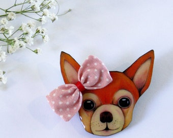 Chihuahua Dog with Bow Wearble Art Pin by Winnifreds Daughter