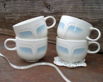 Blue and White China. English Teacups. Tea Cup Collection. Vintage Kitchen Display. Shabby Cottage Decor. Country French Farmhouse Chic.