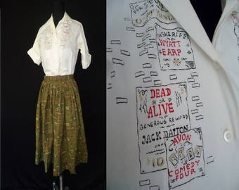 Wanted Poster Novelty Print Vintage 1950's Women's Teenage Girls Rockabilly Full Skirt Blouse XXS XS