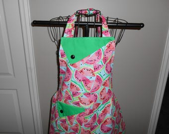 Watermelon Slices on a Blue Background Women's Apron