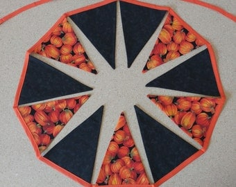 pumpkin halloween fall bunting banner garland 11 flags party prop decor fabric cotton 105 inches orange black green