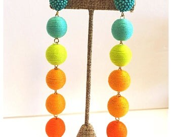 Bon Drop Earrings // 6 tier with a beaded stud top // ombré  sunset