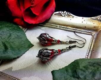 Dark Blood Red Victorian Gothic Earrings, Oxblood Edwardian Drops, Crimson Steampunk, Antiqued Silver Gunmetal, Titanic Temptations Jewelry