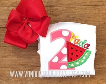 Birthday watermelon twotti frutti Bow Number Personalized Shirt 1st Birthday 2nd 3rd 4th 5th 6th 7th 8th 9th Girl Baby Tank Short Long Sleev
