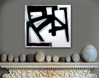 iROQUOiS original abstract painting by Linnea Heide 12x12 acrylic on canvas -black and white - architectural modern art - masculine - linear