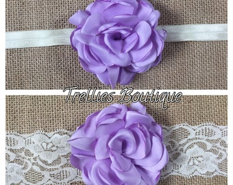Lavender Satin Rosette Headband- Ivory Lace Headband- Ivory Satin Rosette Headband- Flower Girl Headband