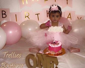 Pink Ivory Tutu Dress- Birthday Tutu Dress- Chiffon Lace Tutu Dress- Lace Tutu Dress- Flower Girl Dress- Junior Bridesmaid