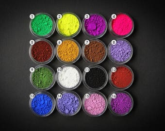 Natural Mineral Pigments 3ml jar - Different sets available. Basic, neon, raibow, pastels for polymer clay