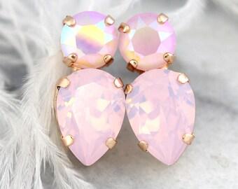 Pink Earrings, Powder Pink Studs, Pink Opal Swarovski Earrings, Christmas Gift, Ballet Pink Earrings, Bridesmaids pink Earrings, Blush Studs