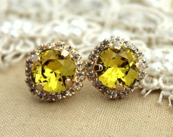Lime Swarovski Rhinestone studs earring - 14k 1 micron Thick plated gold post earrings real swarovski rhinestones.