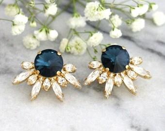 Blue Navy Earrings, Bridal Earrings, Swarovski Navy Blue Earrings, Bridal Cluster Earrings, Midnight Blue Earrings, Bridesmaids Earrings