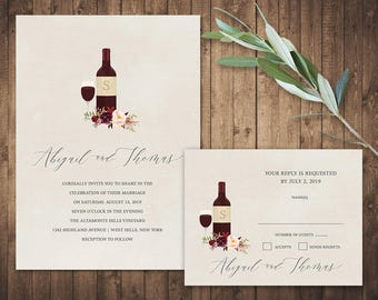 Vineyard Wedding Invitation Suite Printable Template Marsala Floral Options  Wood Background Wine Bottle Wedding Winery Wedding