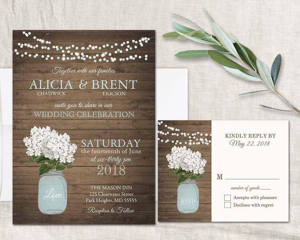 Cottage Mason Jar Wedding Invitation: Rustic Wedding Invitations Mason Jar Wedding Set White