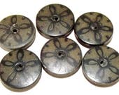 Antique Buttons Composition Set of 6 with Star Motif