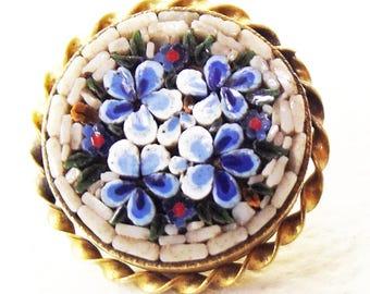 Vintage Button ~ Micro Mosaic Button Sweet Blue Flower Floral design