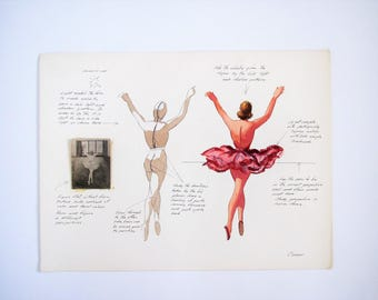 Vintage illustration/watercolor ballet drawing/mixed media collage dancers/ballet art